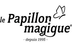 logo du papillon magique pour une lettre et un courrier réussit